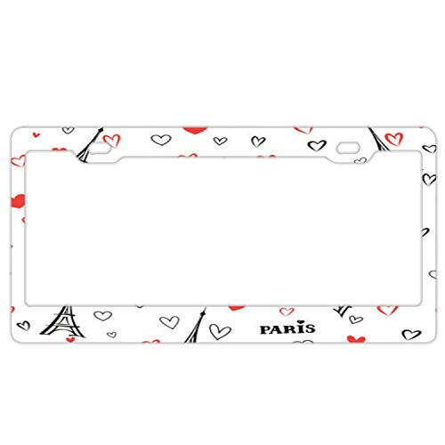 Snap Fiber Heart Carbon (huizehonghong Cool License Plate Frame, Travel France Heart Pattern Paris City License Plate Cover for Girls, Car Plate Frame for US)