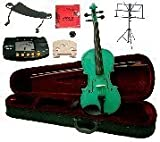 Merano 11'' Green Student Viola with Case and Bow+Extra Set of Strings, Extra Bridge, Shoulder Rest, Rosin, Metro Tuner, Black Music Stand, Mute