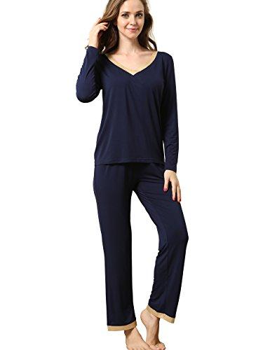 GYS Women's Bamboo Long Sleeve V Neck Pajama Pants Set (Navy Blue,XXL)