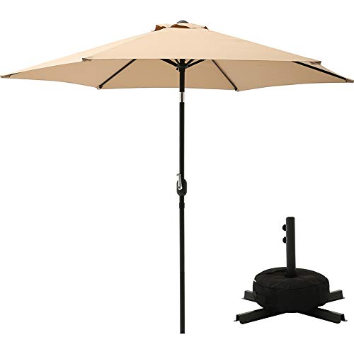Market 9 Base Umbrella (SUPERJARE Outdoor Umbrella with Cross Base and Sandbag, 9 FT Patio Market Table Umbrella for Garden/Balcony/ Beach, Beige)