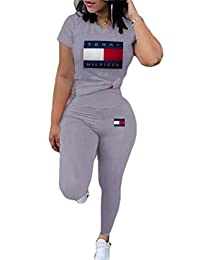 Women's Sweatsuits Short Sleeve Long Pants Tracksuit Two Piece Outfits