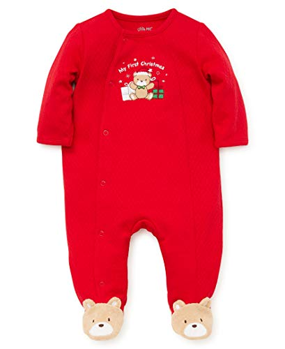 Little Me Baby Boys Footie and Hat, Bear Christmas red/Multi, Newborn