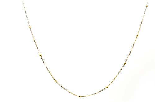 18k White Gold Bead (Millardo Jewelry Basic Collections 1.2mm Wide 18K White Gold Ultra Thin Cable Chain With Beads Chain Necklace (18K Yellow Gold - 22 Inches))