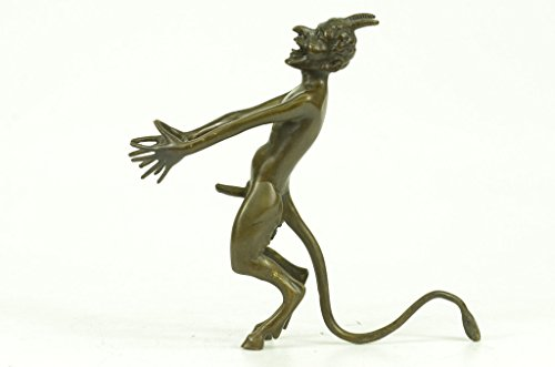 Handmade European Bronze Sculpture Collector Edition Signed Satyr Faun Devil Devilish Figure Gift