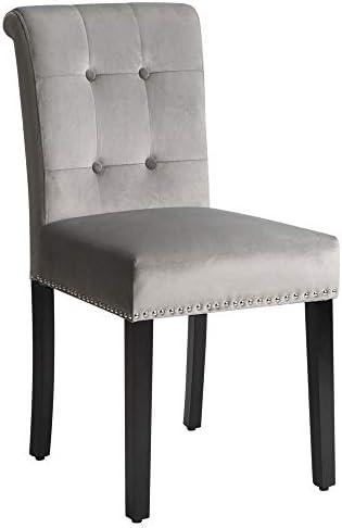 æ— Lot de 2 chaises de salle à manger en velours avec bordure en tête de clou et anneau en métal argenté sur chaises à dossier haut pour cuisine, salon, gris clair