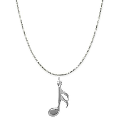 Tempo Metal Finish - Raposa Elegance Sterling Silver Sixteenth Musical Note Charm on a 18