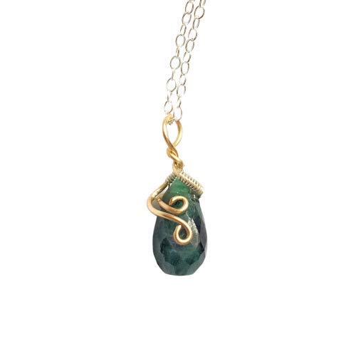 Handmade Emerald Charm Pendant Wire Wrapped in 14K Gold and 925 Sterling Silver - Healing Raw Green Crystal Necklace - May Birthstone Jewelry