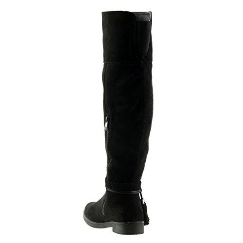 Heel Stiefel CM Cavalier Biker Geflochten String Damenmode Angkorly Schuhe Fransen 3 Block Schwarz zOxBqE