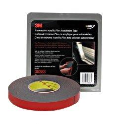 3M Automotive Acrylic Plus Attachment Tape, Black, 7/8