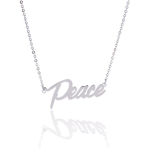 (HUAN XUN Stainless Steel Delicate Little Words Pendant Necklace for Best Friends, Peace)