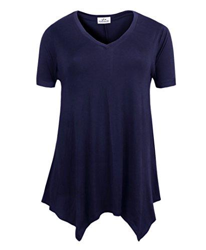 (ZERDOCEAN Women's Printed V Neck Short Sleeve Tunic Top Loose Shirt Navy 1X)