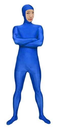 VSVO Spandex Open Face Full Bodysuit Zentai Suit for Adults and Children (X-Large, Royal Blue) ()