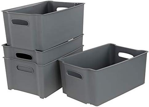 Bblie Cesta Tejida De PláStico, Cajas Almacenaje Plastico, Conjunto De 4 (gris): Amazon.es: Hogar