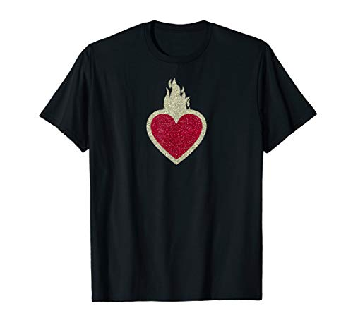 (Unique Trendy Flaming Sacred Heart Symbol Print T-Shirt)