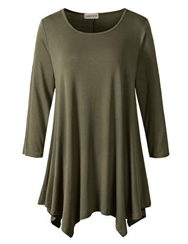 Lanmo Women Plus Size 3/4 Sleeve Tunic Tops Loose Basic Shirt (1X, Army Green)