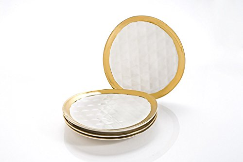 Salad Appetizer - Deluxe Set Of 4 Ceramic Plates By Yedi Houseware - White/Gold Small Plates For Appetizers, Entrees, Salad & More - W/ Unique Quilted Design - 8