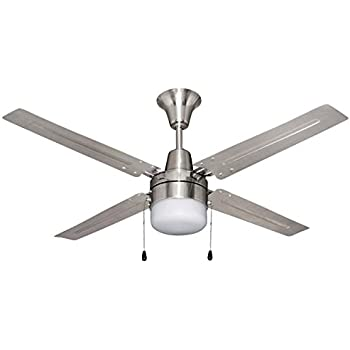 Litex E UB48BC4C1 Urbana 48 Inch Ceiling Fan With Four Brushed Chrome  Blades And