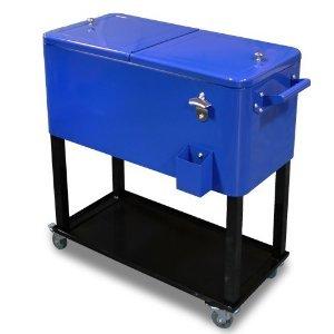 ShopperChoice 65 Quart Cooler Beer Cart Outdoor Entertaining Rolling Party  Steel Bar Bistro