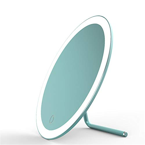 (ZXWCYJ Makeup Mirror 180° Rotating Led Vanity Mirror with Touch Screen Dimming, Portable Hd Vanity Mirror with Magnifying Glass, Magnesium Alloy, Tiffany Gold)