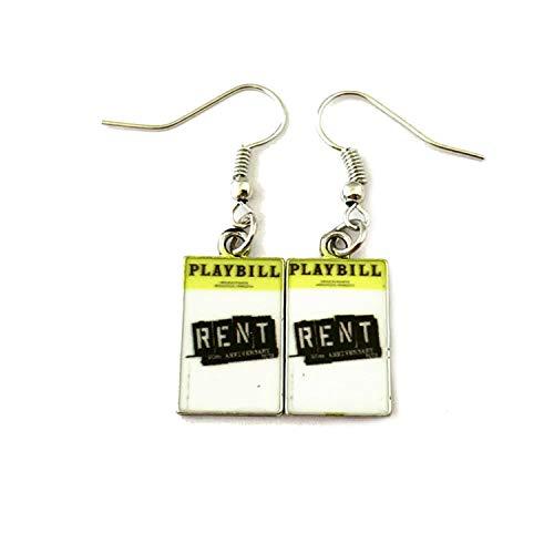 Rent Premium Quality Silvertone Dangle Earrings Broadway Musicals Movies Cartoons -