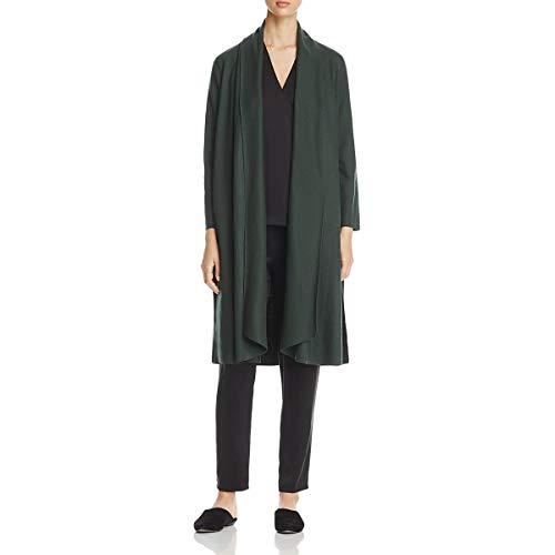 Eileen Fisher Womens Wool Long Jacket Green S - Eileen Fisher Long Wool Jacket