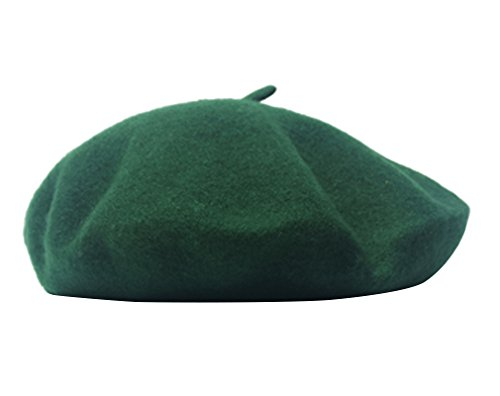 AIYUE® Women Men Warm Beanie Hat Solid Color Wool French Beret artist Painter Fancy Dress Costumes Dark Green