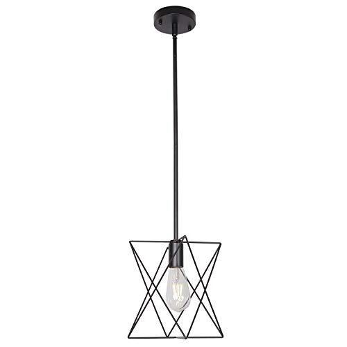 MELUCEE One Light Cage Pendant Lighting Metal Rod Shade Black, Farmhouse Light Fixtures Ceiling Hanging for Dining Room Kitchen Hallway Bedroom