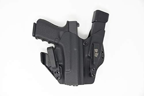 Gritr Holsters with Magazine Holder, Universal Holster for Glock 17, 19, 22, 23, 26, 27, 31, 32, 33 (Gen 1-5) - Made in USA, KYDEX, Inside The Waistband - IWB Holster, Right Hand