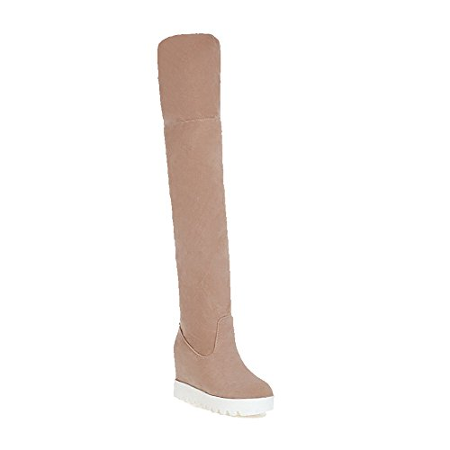 AllhqFashion Women's Round Closed Toe Pull On Cow Imitated Suede Solid High Heels Boots, Beige, 42 ()