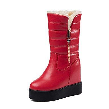 CH&TOU Da donna-Stivaletti-Casual Formale-Plateau Comoda-Plateau-Vernice-Nero Rosso , red , us7.5 / eu38 / uk5.5 / cn38