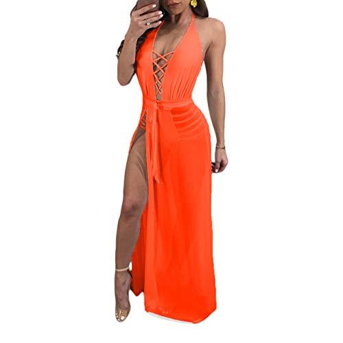 Ydncmgga Sheer Halter Maxi Lace Up V Cuello Partido sin Tirantes Cintura del Club Party Vestido (Color : Orange, tamaño : L)