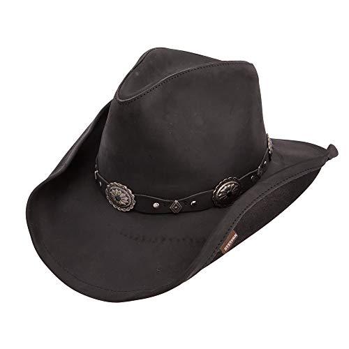 Stetson Roxbury Black Distressed Shapeable Leather Cowboy Western Hat - ()