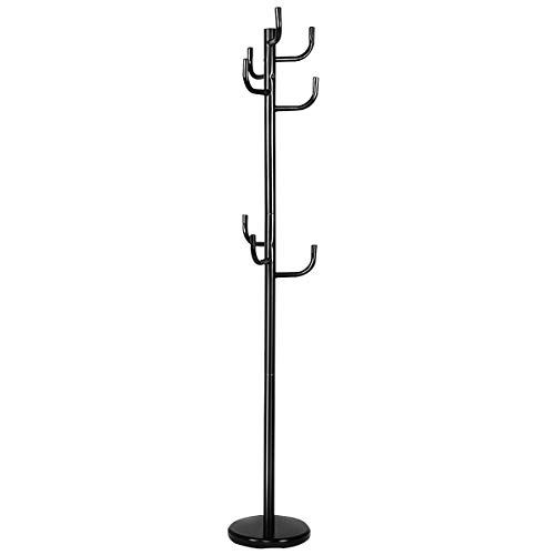 Tangkula Metal Coat Rack Hat Stand Tree Hanger Hall Umbrella Holder Hooks Black