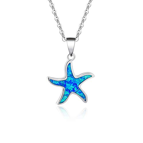 Fancime 925 Sterling Silver Starfish Pendant Necklace Blue Created Opal Ocean Nautical Marine Life Jewelry for Women Girls 18