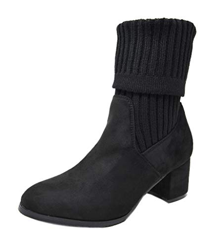 DREAM PAIRS Women's Sweatie Black Fold Down Block Heel Ankle Booties Size 8.5 M US ()