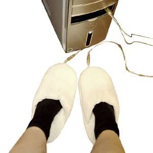 (White) USB Heated Slippers