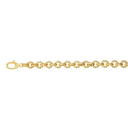 14kt 8'' Yellow Gold 8.7mm Shiny+Rope Textured Oval Link Fancy Bracelet with Lobster Clasp by BH 5 Star