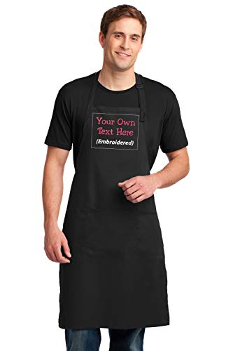 Love Sketches Personalized Apron Add a Name Embroidered Design Add Your Own Name Easy Care Extra Long Bib Apron with Stain Release Adult Bib Aprons 25