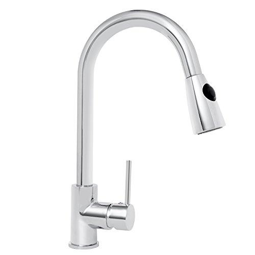 (KAIMA Kitchen Faucet Single Handle Pull Down Sprayer Kitchen Faucet, Chrome)