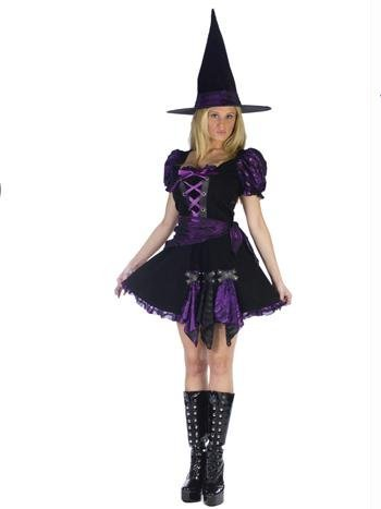 Punk Witch Costumes (Witch Purple Punk Adult Costume (Small-Medium))
