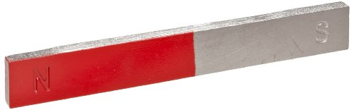 """American Educational 2 Piece Chrome Magnet Bar Set with Painted Red on Each End, 6"""" Length"""
