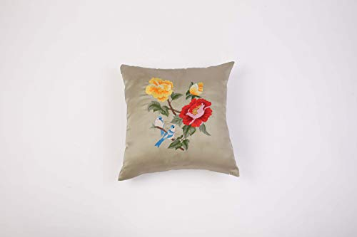 ANSTORE Home Decorative Square Embroidery Throw Pillow Covers Silk Floral Embroidery Home Office Sofa Cushion Cases 18x18 Inch (Grey) ()