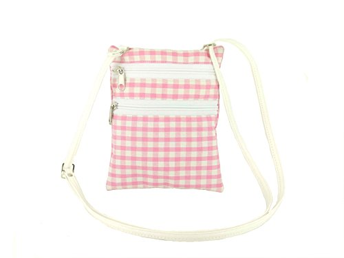 LONI Small Bag Shoulder Body Cross Pink Gingham Flat White Funky 55qrA