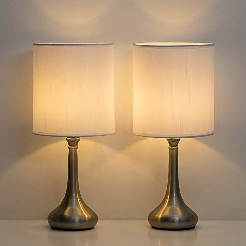 HAITRAL Small Table Lamps - Modern Nightstand Lamps Set of 2 with Metal Base and White Fabric Shade, Desk Lamps for Bedroom, College Dorm, Office - Non-Touch Switch (HT-BTL05-2W) (Base Lamp Modern)