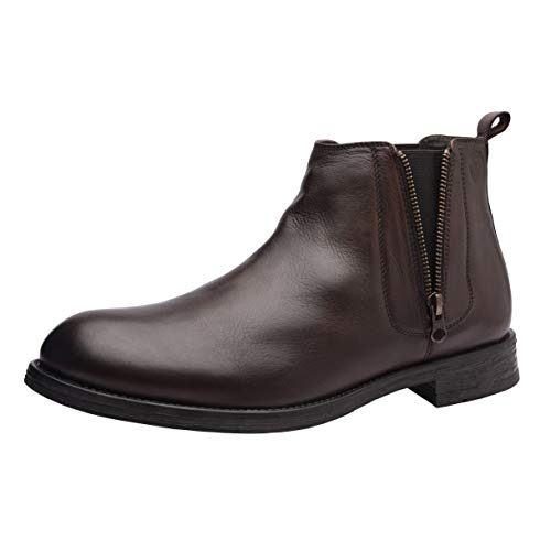 (Allonsi Aloin Men's Boots, Chelsea Boots, Ankle Dress Boot for Men, Ankle Round Toe Zip Chelsea Boots Men, Formal Genuine Leather Boots for Men (Brown, 10M US))