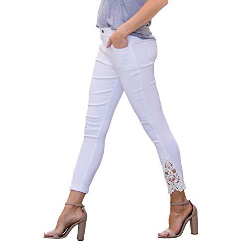 - Amaryllis Apparel Women's White Crochet Ankle Jegging | 95% Cotton / 5% Spandex