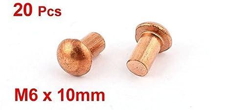 20 piezas DE 1/4 D 13/32 L de la caña de cobre de cabeza Redonda sólidos Remaches Sujetadores: Amazon.com: Industrial & Scientific