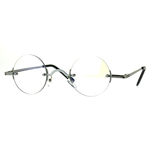 Small Round Circle Clear Lens Rimless Glasses Wide Frame Narrow Lens - Rimless Small Glasses