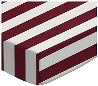 product image for SheetWorld 100% Cotton Percale Extra Deep Fitted Portable Mini Crib Sheet 24 x 38 x 5.5, Burgundy Stripe, Made in USA