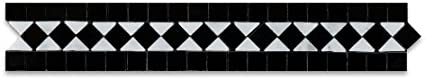 Carrara White & Black Marble Honed BIAS Border Listello - 5